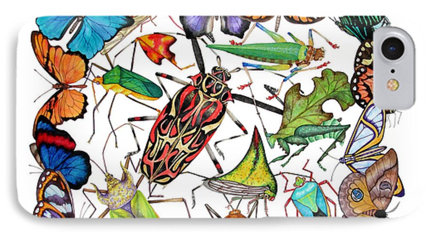 Insects IPhone 7 Case featuring the painting Amazon Insects by Lucy Arnold