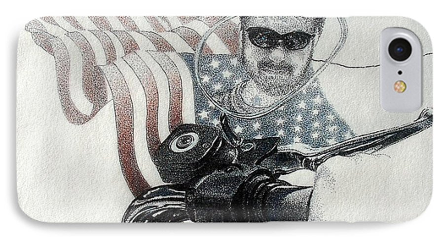 Motorcycles Harley American Flag Cycles Biker IPhone 7 Case featuring the drawing American Rider by Tony Ruggiero