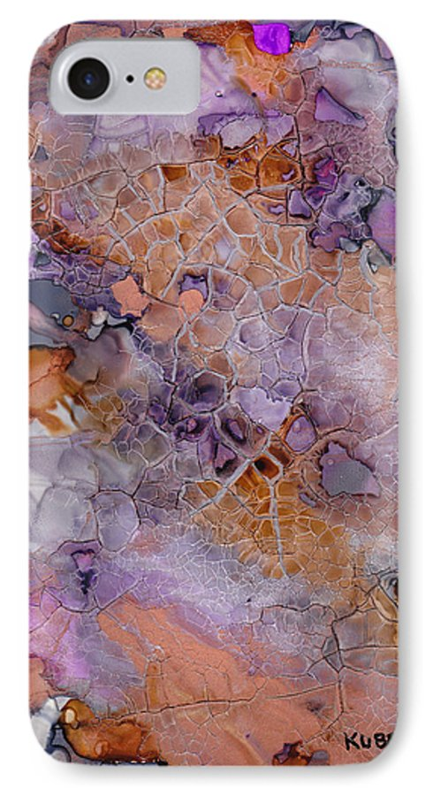 Abstract IPhone 7 Case featuring the mixed media Amethyst And Copper by Susan Kubes