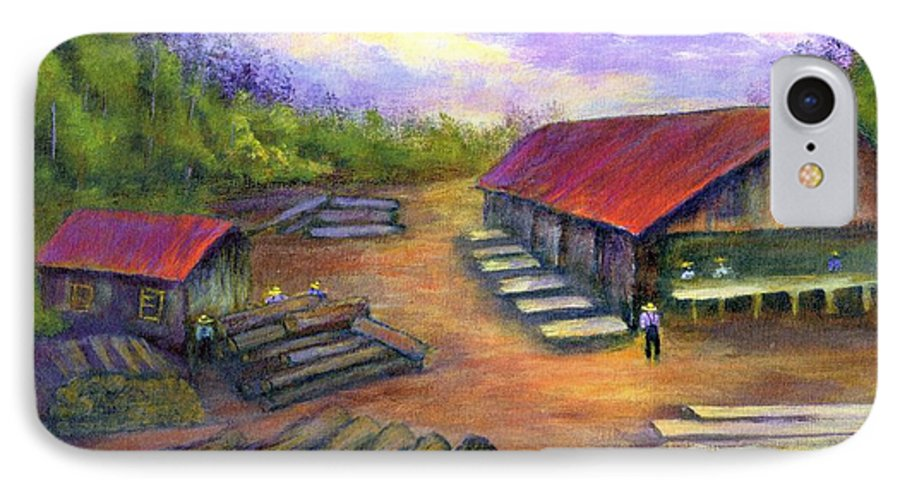Amish IPhone 7 Case featuring the painting Amish Lumbermill by Gail Kirtz