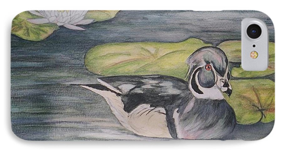 Wood Duck IPhone 7 Case featuring the painting Among The Lillypads by Debra Sandstrom