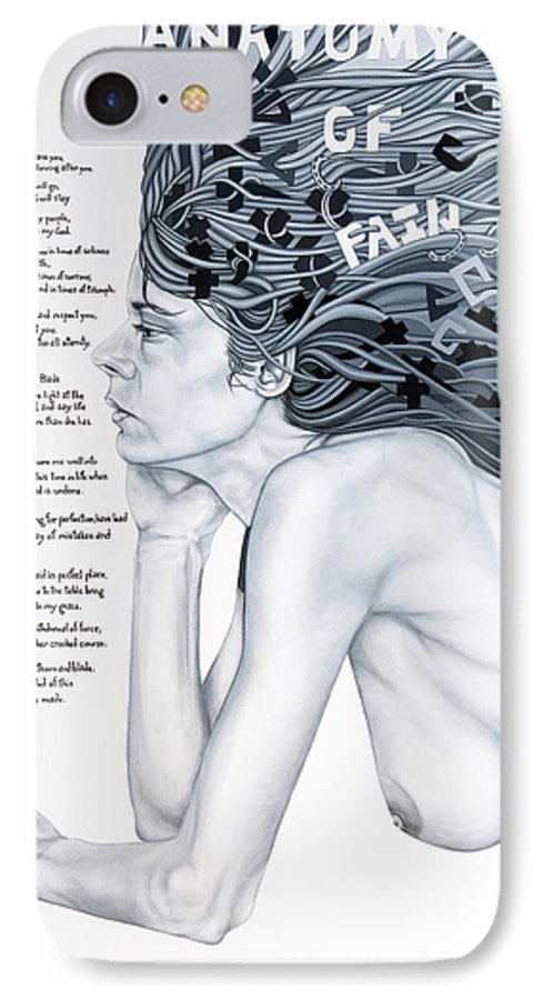 Poetry IPhone 7 Case featuring the painting Anatomy Of Pain by Judy Henninger