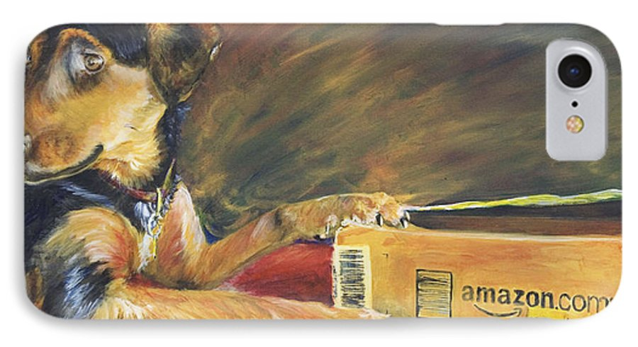 Dog IPhone 7 Case featuring the painting And Youre Done by Nik Helbig