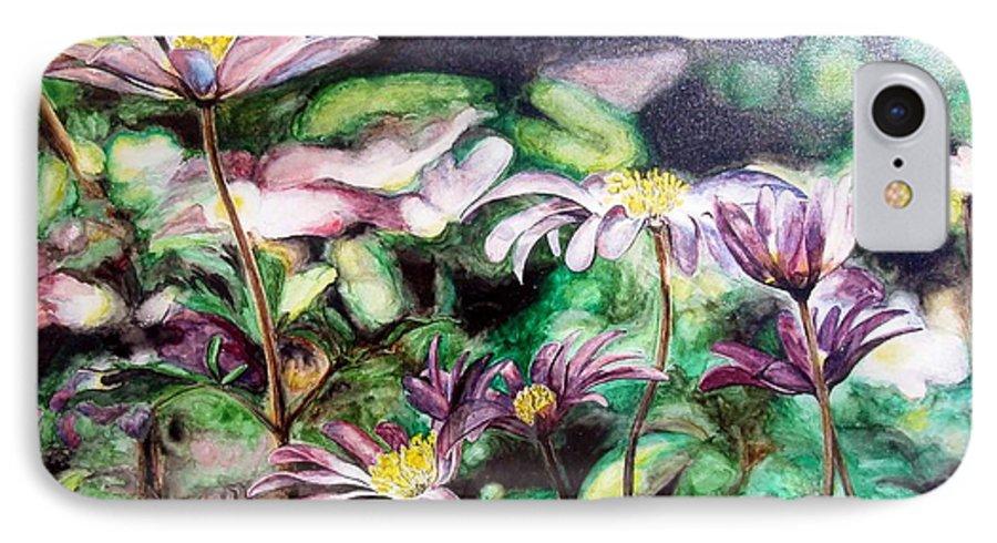 Floral Painting IPhone 7 Case featuring the painting Anemones Japonaises by Muriel Dolemieux