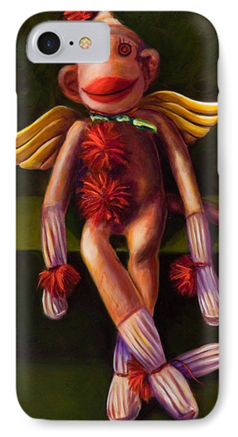 Sock Monkey Angel IPhone 7 Case featuring the painting Angel Made Of Sockies by Shannon Grissom