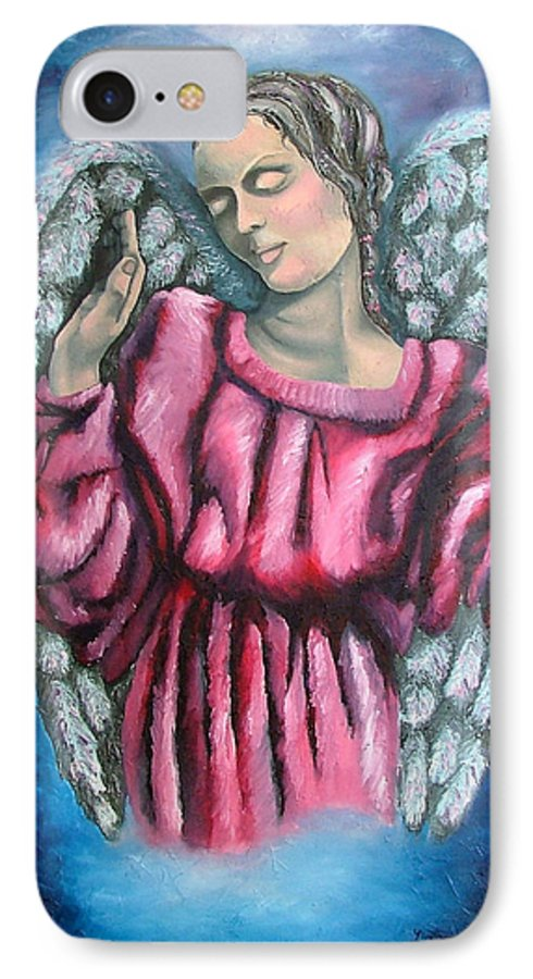 Angel IPhone 7 Case featuring the painting Angel Of Hope by Elizabeth Lisy Figueroa