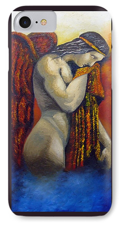 Angel IPhone 7 Case featuring the painting Angel Of Love by Elizabeth Lisy Figueroa