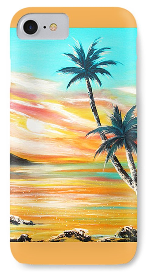 Sunset IPhone 7 Case featuring the painting Another Sunset In Paradise by Gina De Gorna