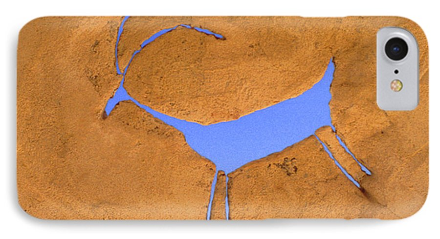 Anasazi IPhone 7 Case featuring the photograph Antelope Petroglyph by Jerry McElroy