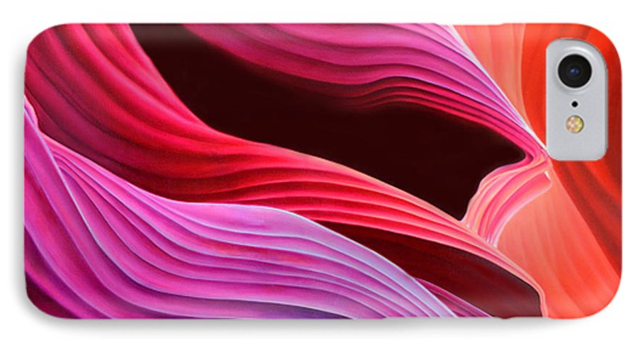 Antelope Canyon IPhone 7 Case featuring the painting Antelope Waves by Anni Adkins