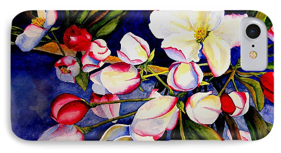 Apple Blossoms IPhone 7 Case featuring the painting Apple Blossom Time by Karen Stark