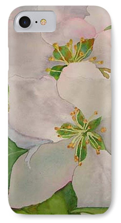 Apple Blossoms IPhone 7 Case featuring the painting Apple Blossoms by Sharon E Allen