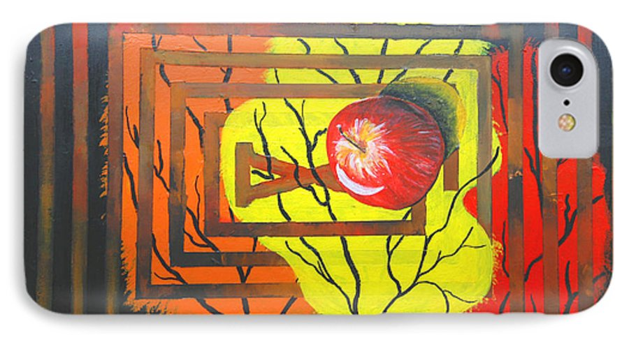 Abstract IPhone 7 Case featuring the painting Apple by Olga Alexeeva
