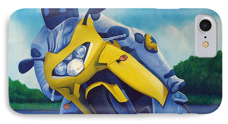 Motorcycle IPhone 7 Case featuring the painting Aprilla - Tuesday Afternoon by Brian Commerford