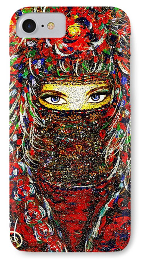 Woman IPhone 7 Case featuring the painting Arabian Eyes by Natalie Holland