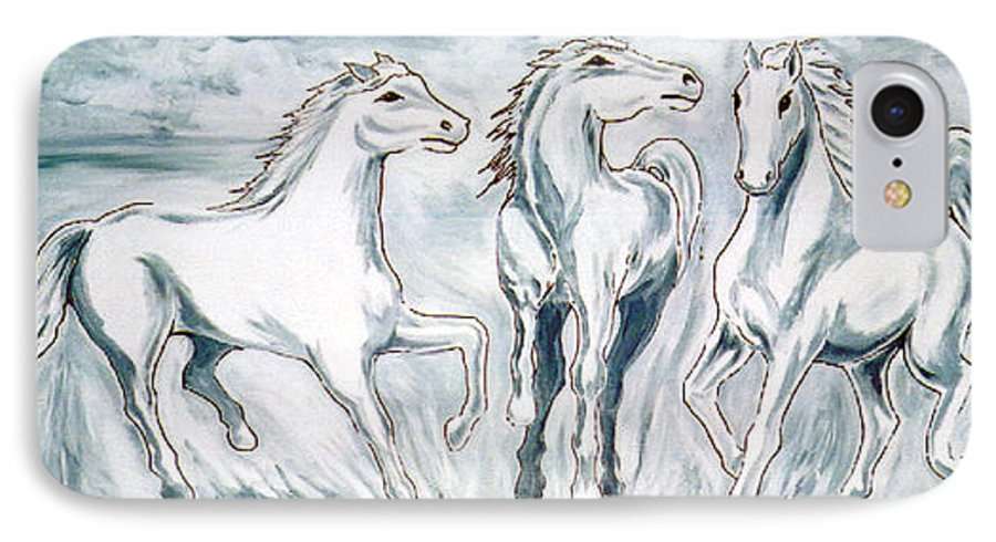 Horses IPhone 7 Case featuring the painting Arabian Roots by Marco Morales