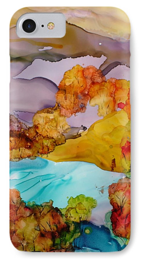 Fall IPhone 7 Case featuring the mixed media Arcadia by Susan Kubes