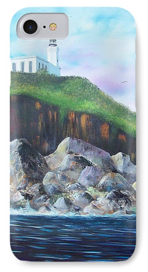 Arecibo Lighthouse IPhone 7 Case featuring the painting Arecibo Lighthouse by Tony Rodriguez