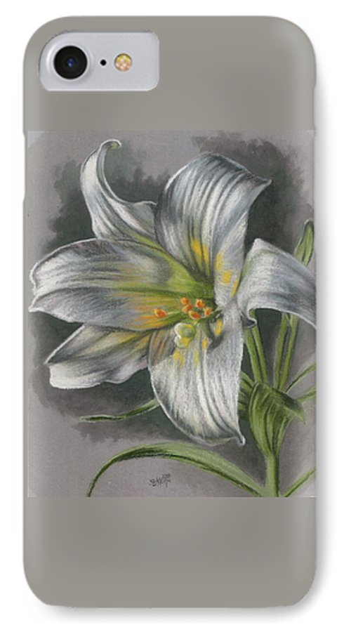 Easter Lily IPhone 7 Case featuring the mixed media Arise by Barbara Keith