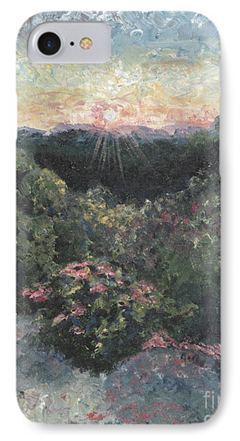 Landscape IPhone 7 Case featuring the painting Arkansas Mountain Sunset by Nadine Rippelmeyer