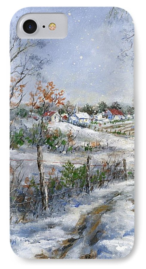 Snowfall IPhone 7 Case featuring the painting Around The Bend Sold by Virginia Potter
