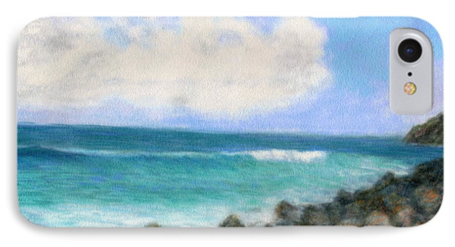 Rainbow Colors Pastel IPhone 7 Case featuring the painting Around The Point by Kenneth Grzesik
