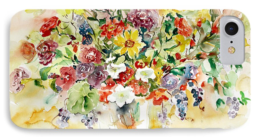 Watercolor IPhone 7 Case featuring the painting Arrangement IIi by Alexandra Maria Ethlyn Cheshire