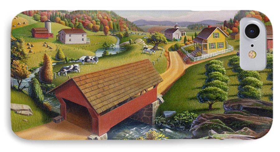Covered Bridge IPhone 7 Case featuring the painting Folk Art Covered Bridge Appalachian Country Farm Summer Landscape - Appalachia - Rural Americana by Walt Curlee