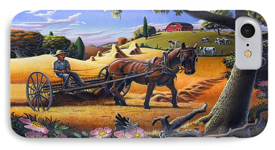 Raking Hay IPhone 7 Case featuring the painting Raking Hay Field Rustic Country Farm Folk Art Landscape by Walt Curlee