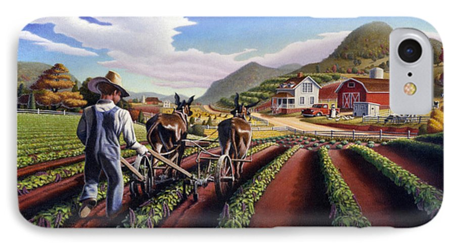 Appalachian IPhone 7 Case featuring the painting Appalachian Folk Art Summer Farmer Cultivating Peas Farm Farming Landscape Appalachia Americana by Walt Curlee