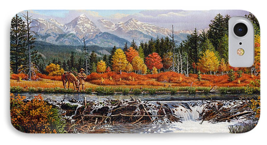 Western Mountain Landscape IPhone 7 Case featuring the painting Western Mountain Landscape Autumn Mountain Man Trapper Beaver Dam Frontier Americana Oil Painting by Walt Curlee