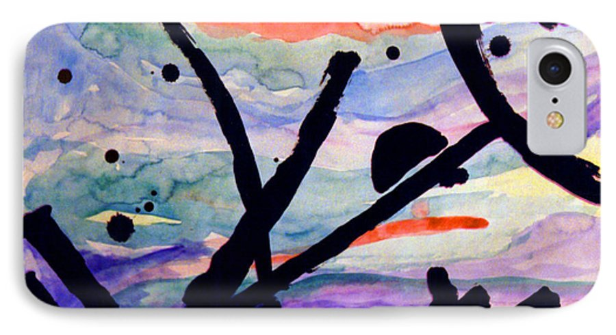 Abstract IPhone 7 Case featuring the painting Asian Impression by Steve Karol
