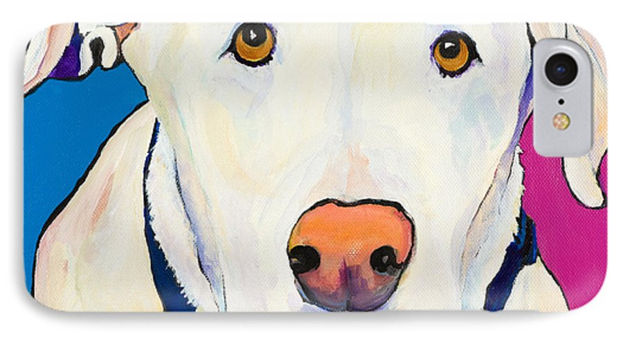 White Lab Yellow Lab Animal Paintings Golden Eyes Square Format Dogs Pets Rescued IPhone 7 Case featuring the painting Aslinn by Pat Saunders-White