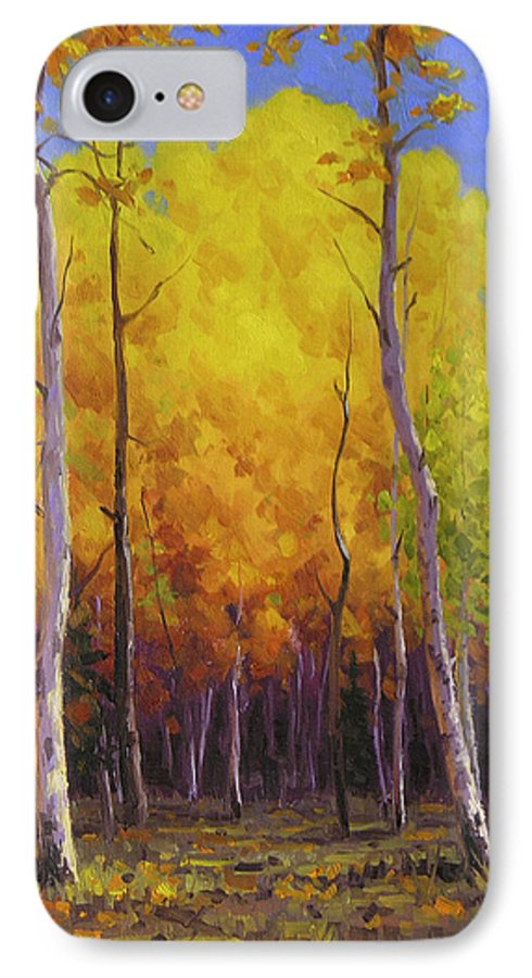 Landscape IPhone 7 Case featuring the painting Aspen Glow by Cody DeLong