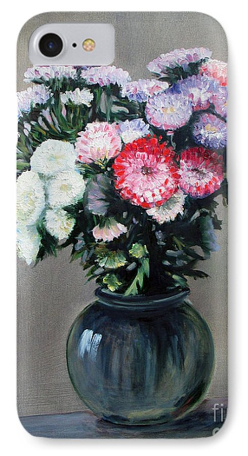 Flowers IPhone 7 Case featuring the painting Asters by Paul Walsh