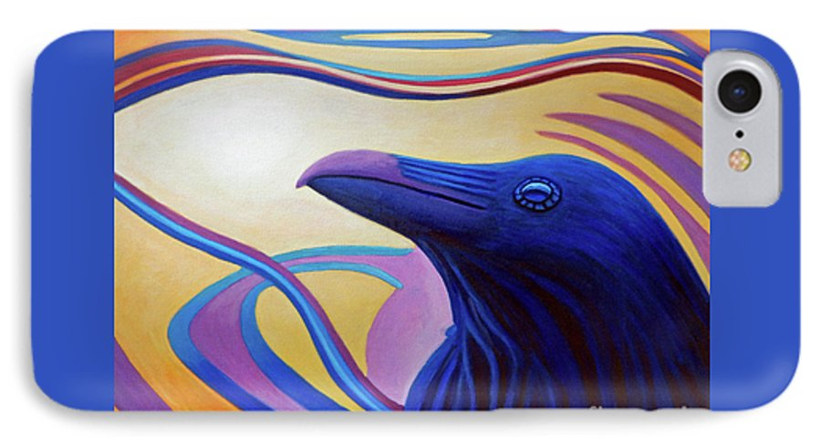 Raven IPhone 7 Case featuring the painting Astral Raven by Brian Commerford