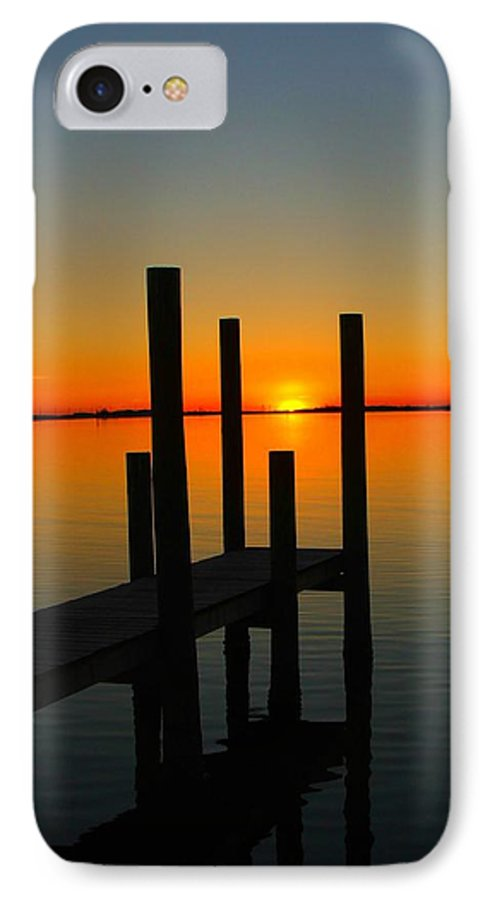 Sunset IPhone 7 Case featuring the photograph At The Pier by Judy Waller