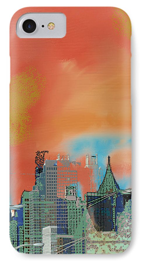 Atlanta IPhone 7 Case featuring the mixed media Atlanta Abstract After The Tornado by Ann Tracy