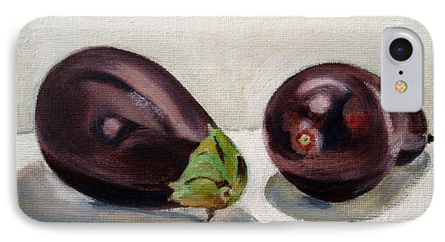 Still-life IPhone 7 Case featuring the painting Aubergines by Sarah Lynch
