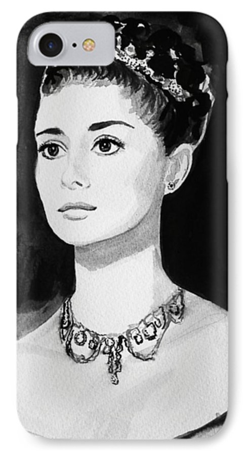 Audrey Hepburn IPhone 7 Case featuring the painting Audrey by Laura Rispoli