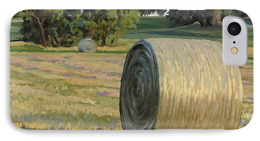 Landscape IPhone 7 Case featuring the painting August Bales by Bruce Morrison
