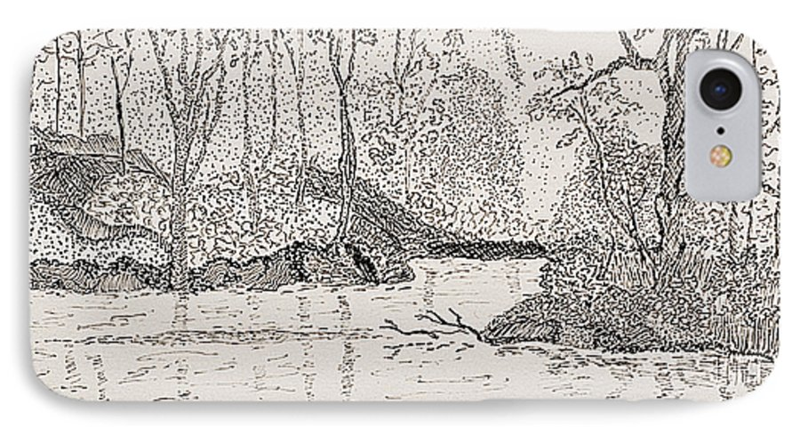 River IPhone 7 Case featuring the drawing Ausable River At Rock Glen by Peggy King