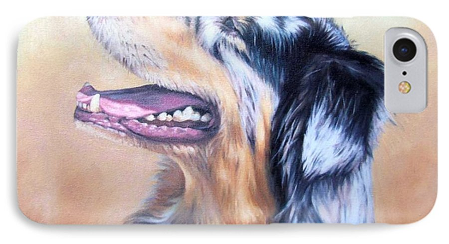 Dog IPhone 7 Case featuring the painting Australian Shepherd Dog by Nicole Zeug