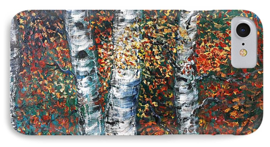 Birch IPhone 7 Case featuring the painting Autumn Birch by Nadine Rippelmeyer