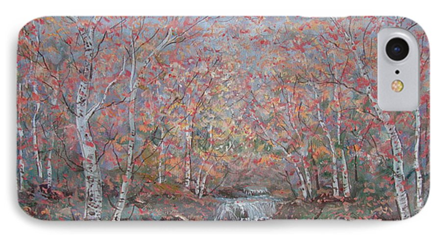 Landscape IPhone 7 Case featuring the painting Autumn Birch Trees. by Leonard Holland