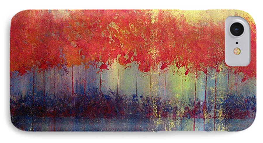 Abstract IPhone 7 Case featuring the painting Autumn Bleed by Ruth Palmer