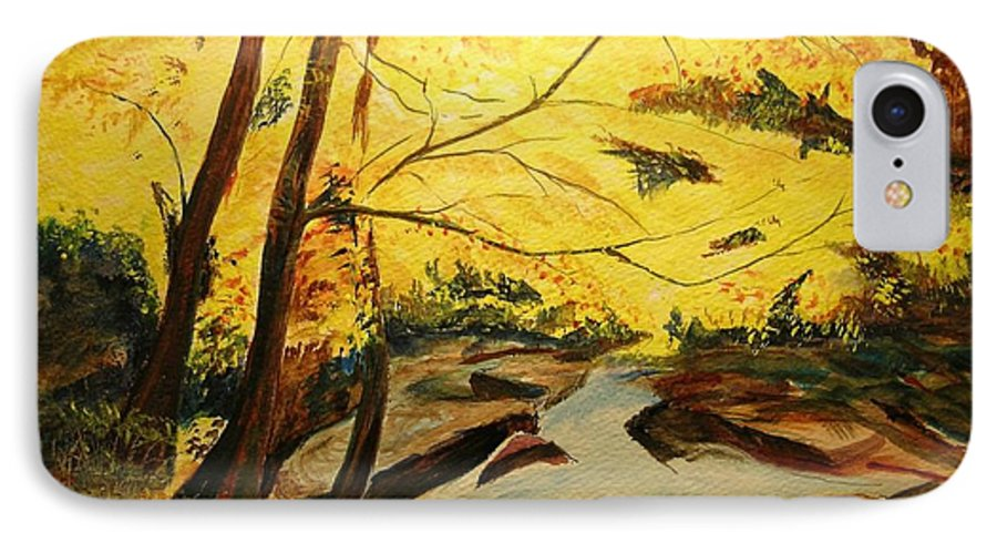 Trees In Autumn IPhone 7 Case featuring the painting Autumn Colours by Lizzy Forrester