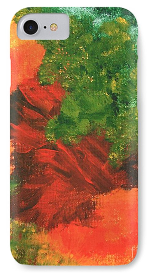 Abstract IPhone 7 Case featuring the painting Autumn Equinox by Itaya Lightbourne