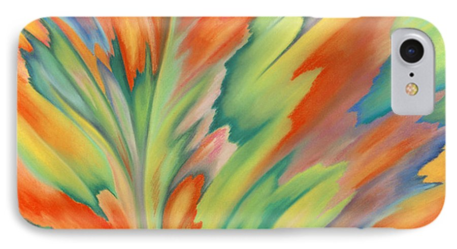 Abstract IPhone 7 Case featuring the painting Autumn Flame by Lucy Arnold