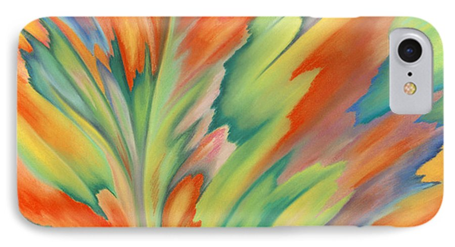 Abstract IPhone Case featuring the painting Autumn Flame by Lucy Arnold